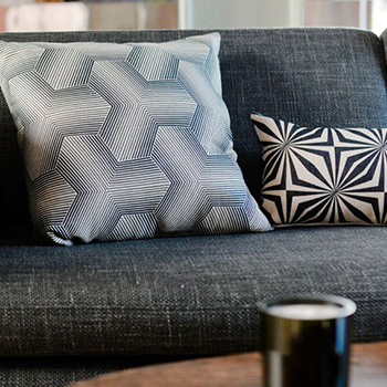 Rouge du Rhin cushions selected by EKLA in Mauritius